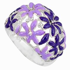 Multi color enamel 925 sterling silver flower ring jewelry size 6.5 c16263