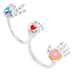 Multi color enamel 925 sterling silver two finger couple ring size 8 c18381