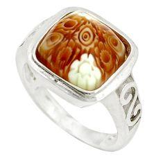 Multi color italian murano glass 925 sterling silver ring size 7 c26148