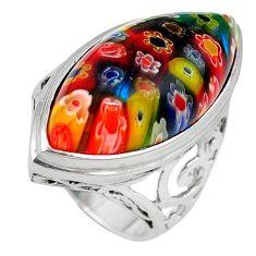Multi color italian murano glass 925 sterling silver ring size 7 c26179