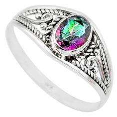 1.68cts multi color rainbow topaz silver graduation handmade ring size 9 t9280