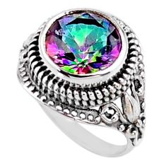 5.53cts multi color rainbow topaz 925 silver solitaire ring size 6.5 r54583
