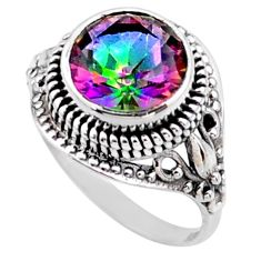 5.93cts multi color rainbow topaz 925 silver solitaire ring size 6 r54584