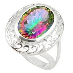 Multi color rainbow topaz 925 sterling silver ring jewelry size 8.5 c23964