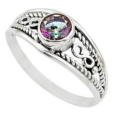 0.67cts multi color rainbow topaz silver graduation handmade ring size 6 t9736