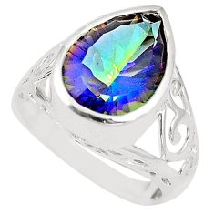 Multi color rainbow topaz 925 sterling silver ring jewelry size 7 c23961