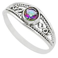 0.81cts multi color rainbow topaz silver graduation handmade ring size 8.5 t9754