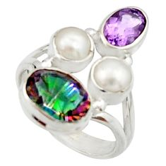 6.31cts multi color rainbow topaz amethyst pearl 925 silver ring size 5.5 r22984