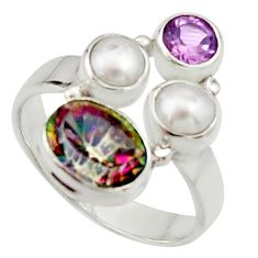 5.53cts multi color rainbow topaz amethyst pearl 925 silver ring size 8.5 r22985