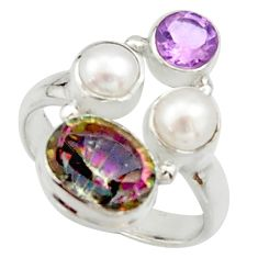 5.79cts multi color rainbow topaz amethyst pearl 925 silver ring size 6.5 r22987