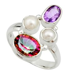 6.04cts multi color rainbow topaz amethyst pearl 925 silver ring size 8.5 r22988