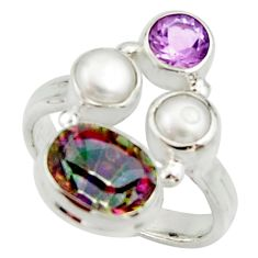 5.79cts multi color rainbow topaz amethyst pearl 925 silver ring size 6.5 r22991