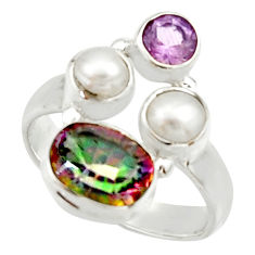 5.38cts multi color rainbow topaz amethyst pearl 925 silver ring size 7.5 r22994