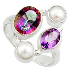 6.28cts multi color rainbow topaz amethyst pearl 925 silver ring size 6.5 r22998