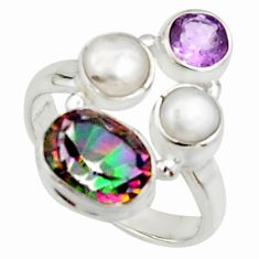 5.87cts multi color rainbow topaz amethyst pearl 925 silver ring size 7 r22981