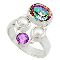 5.52cts multi color rainbow topaz amethyst pearl 925 silver ring size 7 r22982