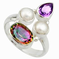 6.31cts multi color rainbow topaz amethyst pearl 925 silver ring size 7 r22989