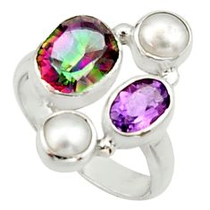 6.04cts multi color rainbow topaz amethyst pearl 925 silver ring size 7 r22995