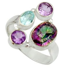 6.02cts multi color rainbow topaz amethyst pearl 925 silver ring size 8 r22990