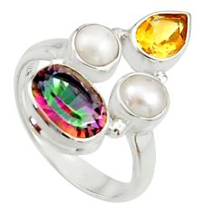 6.31cts multi color rainbow topaz citrine pearl 925 silver ring size 7 r22996