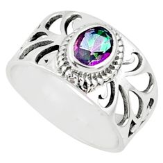 1.56cts multi color rainbow topaz oval 925 silver solitaire ring size 7 r68809