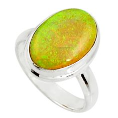 7.04cts multi color sterling opal 925 silver solitaire ring size 7.5 r25141