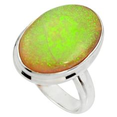 10.78cts multi color sterling opal 925 silver solitaire ring size 7.5 r25145