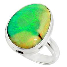11.21cts multi color sterling opal 925 silver solitaire ring size 7.5 r25147