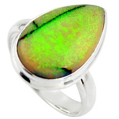 11.57cts multi color sterling opal 925 silver solitaire ring size 8.5 r25157