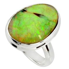 12.58cts multi color sterling opal 925 silver solitaire ring size 8.5 r25159