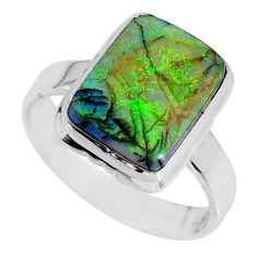 4.28cts multi color sterling opal 925 silver solitaire ring size 7.5 r58894