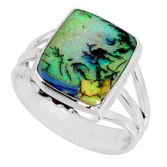 4.43cts multi color sterling opal 925 silver solitaire ring size 8.5 r58897