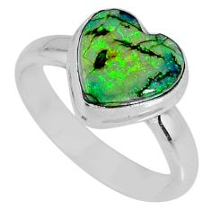 3.80cts multi color sterling opal 925 silver solitaire ring size 7.5 r62147