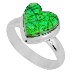 3.83cts multi color sterling opal 925 silver solitaire ring size 6.5 r62157