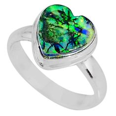 3.80cts multi color sterling opal 925 silver solitaire ring size 6.5 r62158