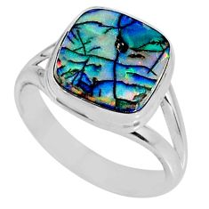 4.06cts multi color sterling opal 925 silver solitaire ring size 6.5 r62159