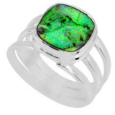 3.58cts multi color sterling opal 925 silver solitaire ring size 6.5 r62165