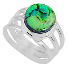 3.58cts multi color sterling opal 925 silver solitaire ring size 6.5 r62170