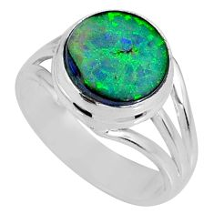 3.11cts multi color sterling opal 925 silver solitaire ring size 6.5 r62171
