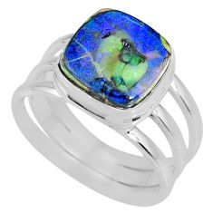 4.02cts multi color sterling opal 925 silver solitaire ring size 7.5 r62173