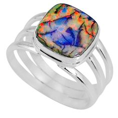 4.19cts multi color sterling opal 925 silver solitaire ring size 7.5 r62174