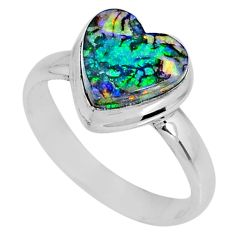 3.66cts multi color sterling opal 925 silver solitaire ring size 8.5 r62181