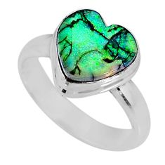 3.45cts multi color sterling opal 925 silver solitaire ring size 6.5 r62182