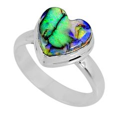3.65cts multi color sterling opal 925 silver solitaire ring size 6.5 r62194