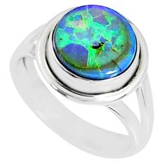3.62cts multi color sterling opal 925 silver solitaire ring size 6.5 r70201