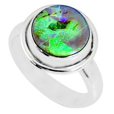3.84cts multi color sterling opal 925 silver solitaire ring size 6.5 r70202