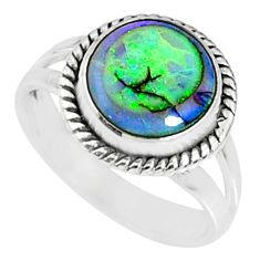 3.63cts multi color sterling opal 925 silver solitaire ring size 7.5 r70203