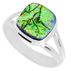 3.61cts multi color sterling opal 925 silver solitaire ring size 8.5 r70209