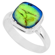 3.62cts multi color sterling opal 925 silver solitaire ring size 8.5 r70212