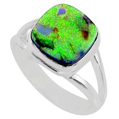3.62cts multi color sterling opal 925 silver solitaire ring size 7.5 r70217
